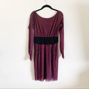 Anthro | Weston Wear Striped Stretch V Back Dress
